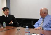 Otto Santa Ana (left) and Alex S. Jones, Shorenstein Center director.