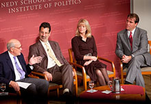 Alex S. Jones, Shorenstein Center director; Stephen Engelberg of ProPublica; Martha Raddatz of ABC News; and Charles M. Sennott of GlobalPost.