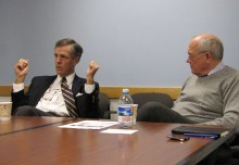 Brit Hume and Alex S. Jones, Shorenstein Center director.
