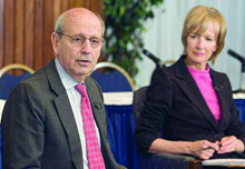 Supreme Court justice Stephen Breyer and Judy Woodruff.