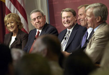 Judy Woodruff, Dan Rather, Jim Lehrer, Peter Jennings, and Tom Brokaw in the Kennedy School Forum.