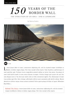 A mockup of The Long View feature in The Commons, showing a hypothetical article about the evolution of the Border Wall idea.