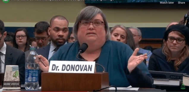 Dr. Joan Donovan testifies in Congressional Hearing on January 8 2020