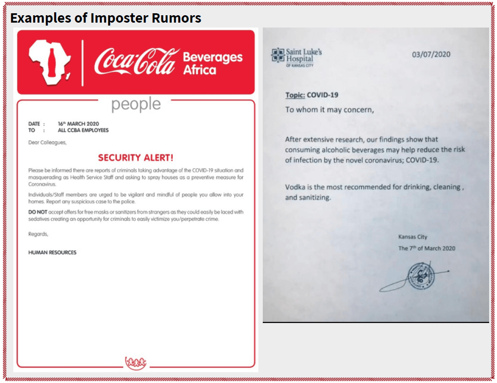 """Examples of imposter rumors include a fake Coca-Cola corporate """"Security Alert"""" and a fake letter from a hospital purporting to advocate vodka as a COVID-19 preventative."""