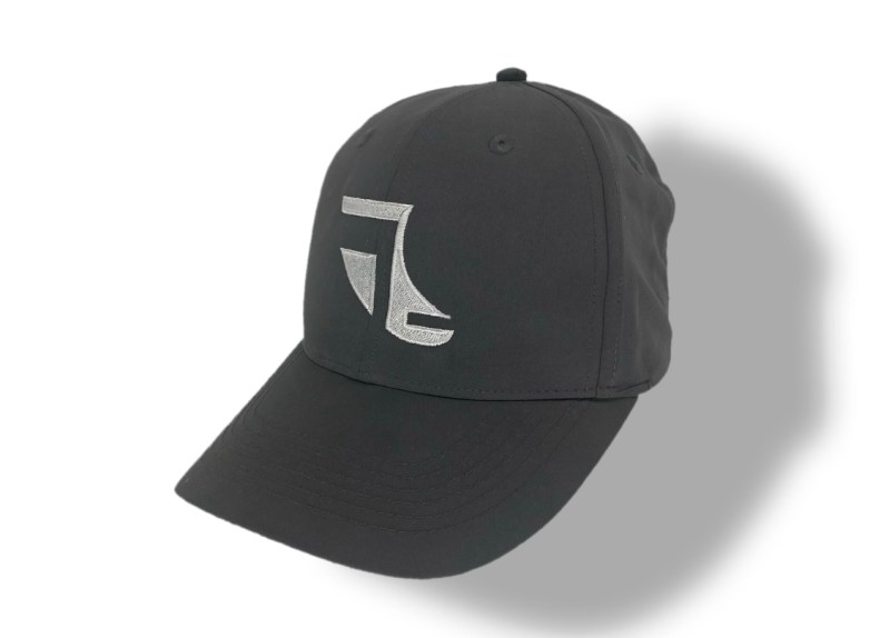 Angled image of Grey ShoreTees Baseball Cap with White embroidered Fin Logo