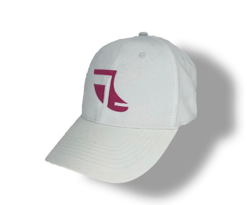 Angled image of White ShoreTees Baseball Cap with Pink embroidered Fin Logo