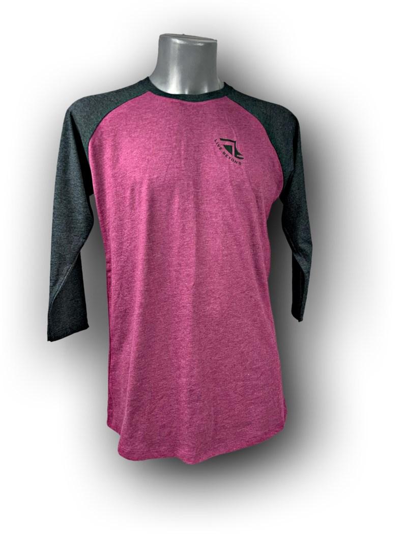 Front image of Mens Baseball T-Shirt in Plum & Melange Black with Black 'Live Beyond' Detail