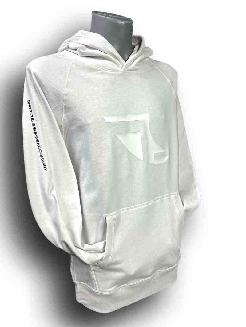 Front image of Men's Balance Collection Premium White Hoodie with Black arm silicone