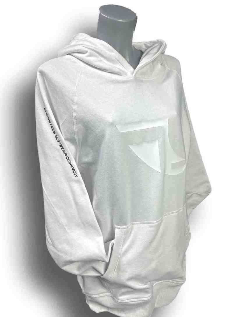 Front image of Ladies Balance Collection Premium White Hoodie with Black arm silicone
