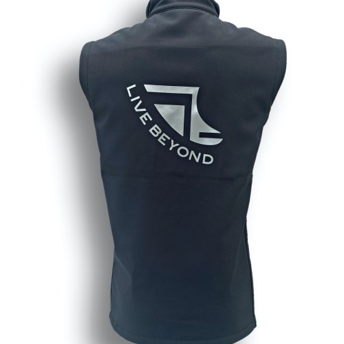 Rear image of ShoreTees SUPwear Mens Black Recycled Gillet featuring Fin logo & LiveBeyond wording
