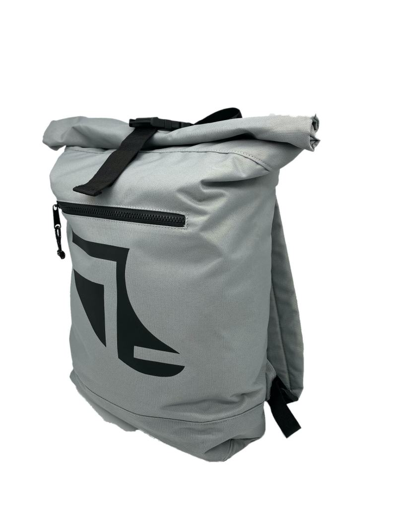 Angled image of Grey 20L Recycled Backpack featuring Fin Logo in Black
