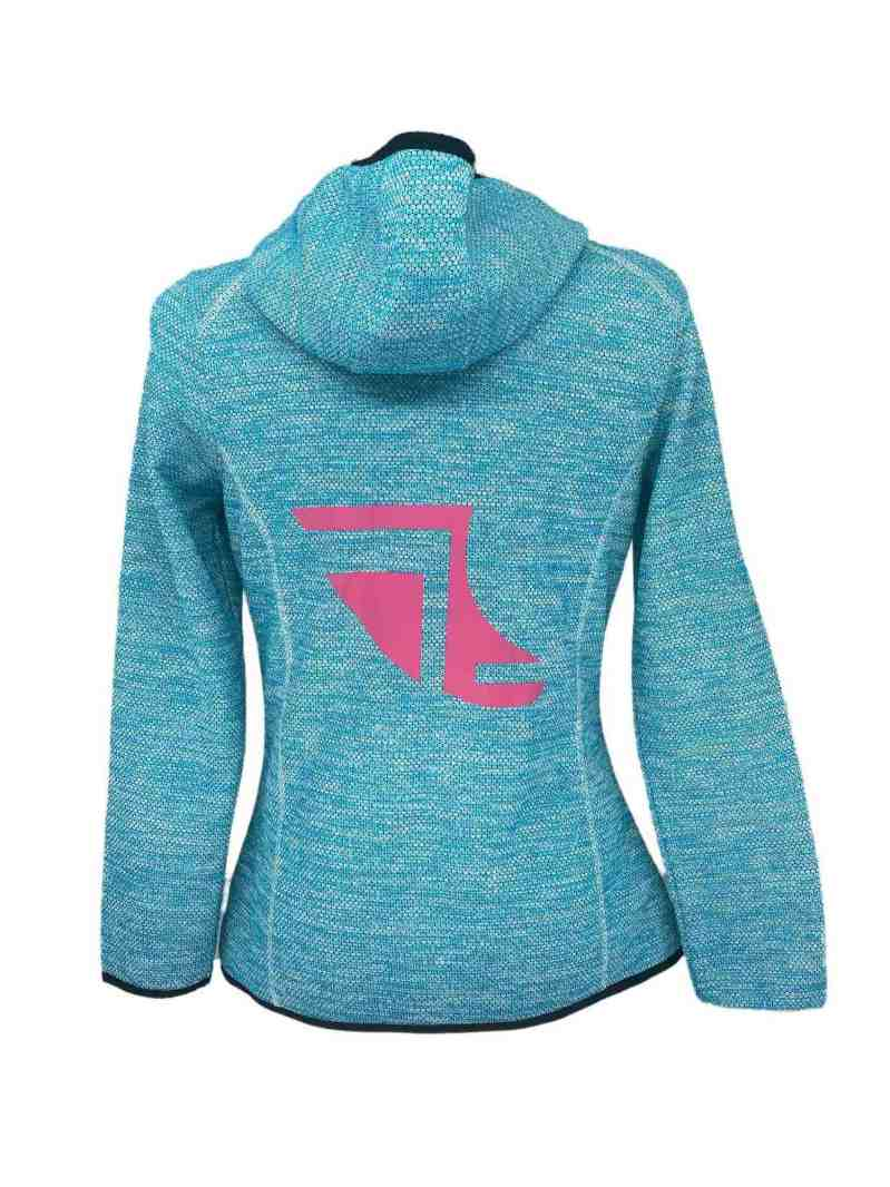 Rear image of Ladies Recycled hooded fleece in Turquoise with ShoreTees Logo in Pink