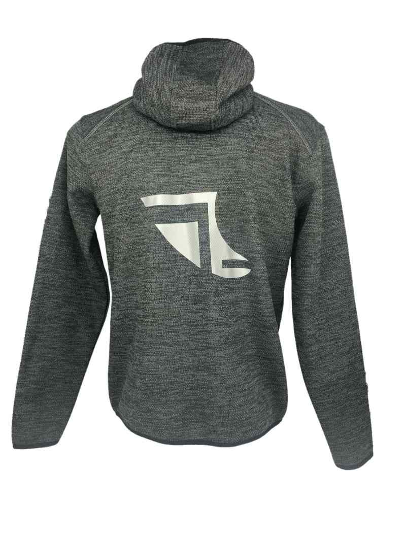 Rear image of Men's Recycled hooded fleece in Steel Grey with ShoreTees Logo in Silver