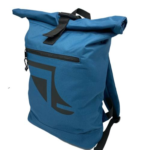 Angled image of Blue 20L Recycled Backpack featuring Fin Logo in Black