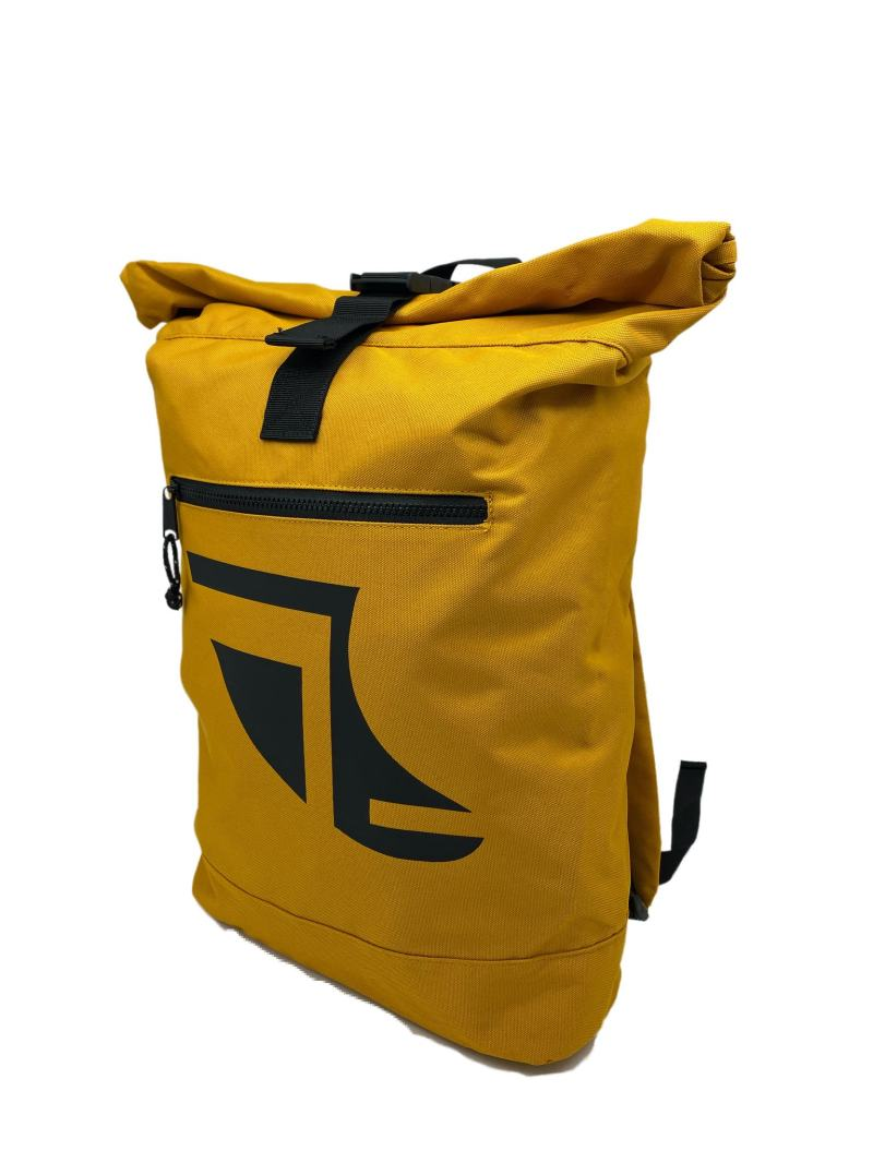 Angled image of Yellow 20L Recycled Backpack featuring Fin Logo in Black
