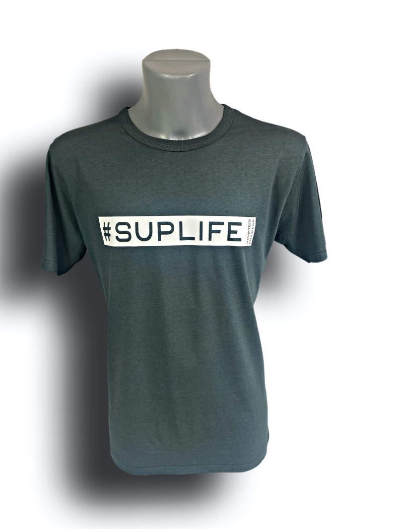Front image of Mens Grey Raglan Bamboo T-Shirt with SUPLife hashtag in White
