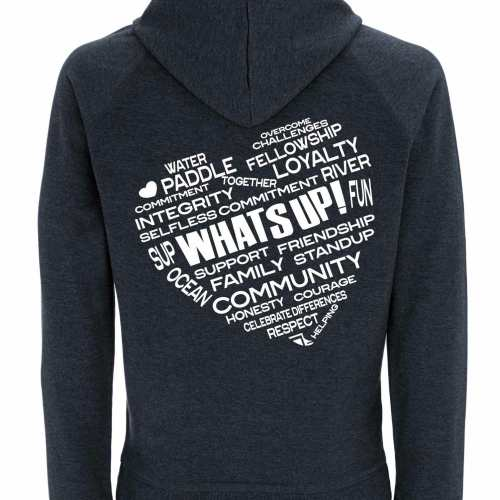 Rear of WhatSUP! unisex recycled Hoodie in Melange Black with White Heart