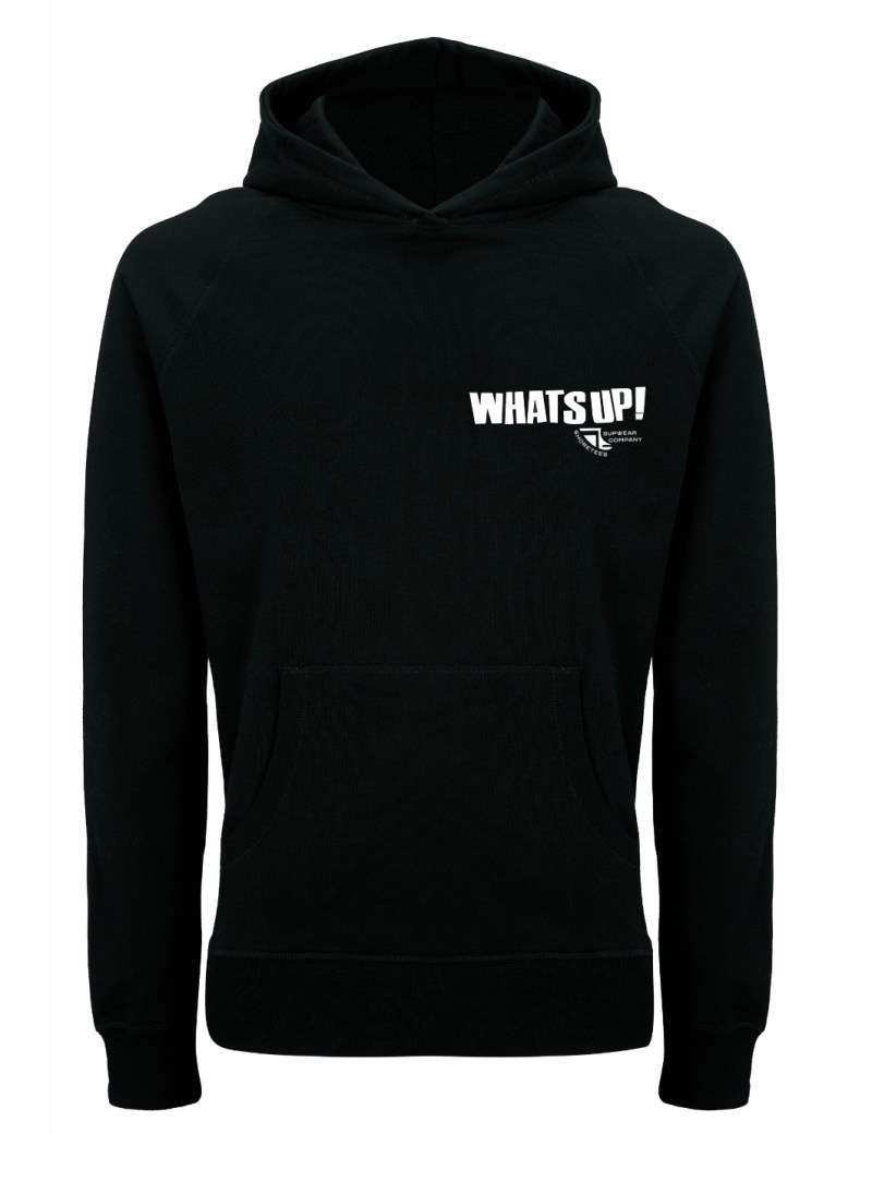 Front of WhatSUP! unisex recycled Hoodie in Black with White Print