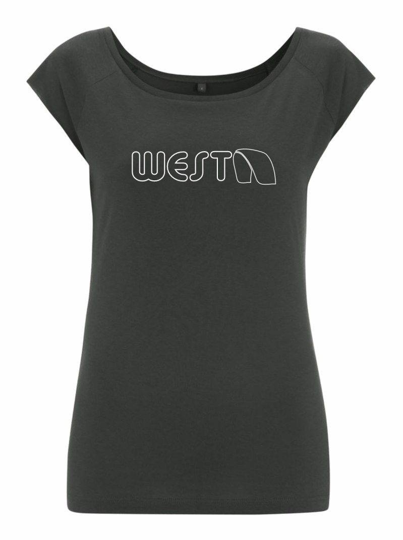 Ladies Grey Bamboo T-Shirt with White West Kiteboarding design