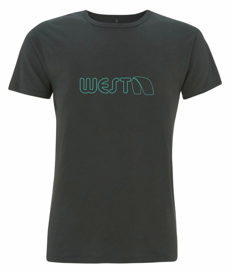 Mens Grey Bamboo T-Shirt with Turquoise West Kiteboarding design