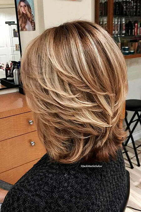 Shoulder Length Hair, Layered Brown Blonde Women