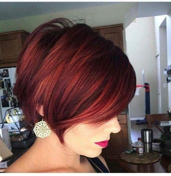Awesome Pastel Burgundy Color On Choppy Haircut Short
