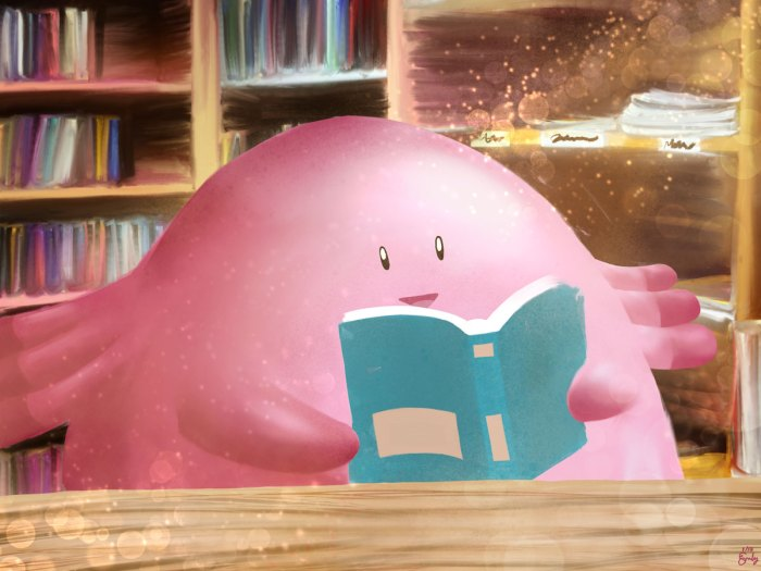 Fanart of the pokemon Chansey reading a book, which is held upside down
