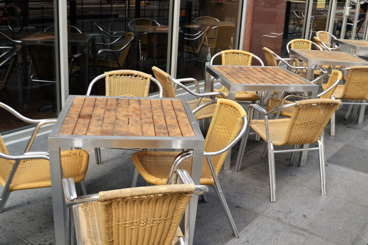Empty outdoor seating at bar