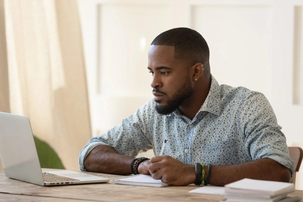 man creating an online course