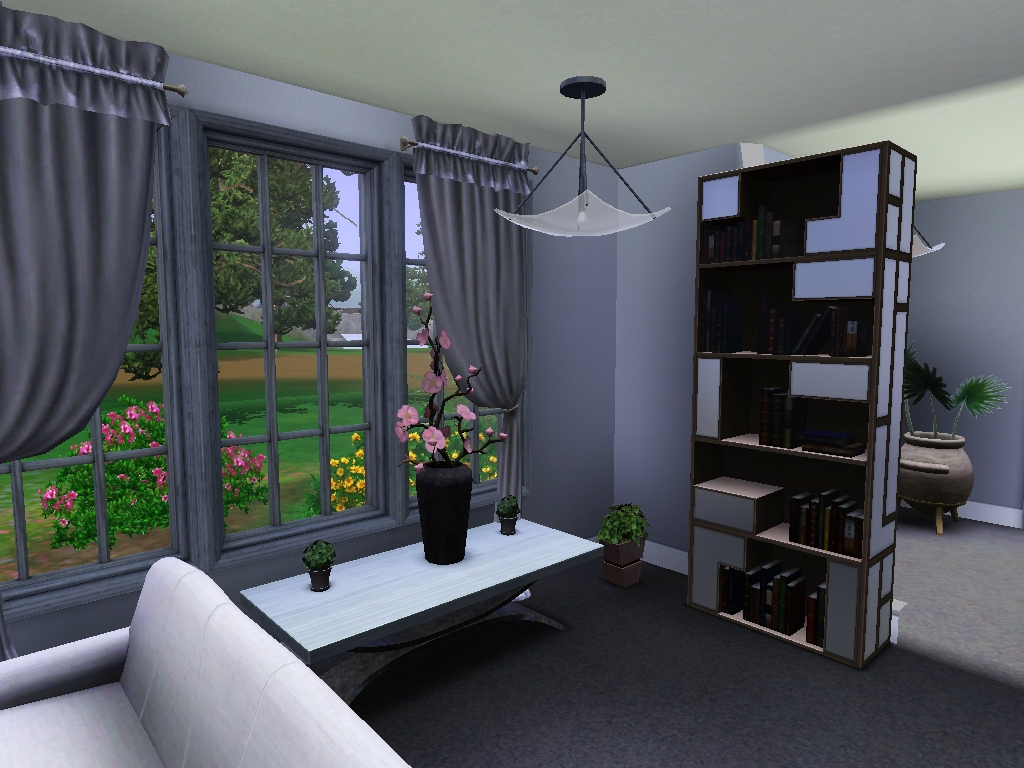 Screen shot from Sims 3 showing a bedroom, showing the plant options that have been added
