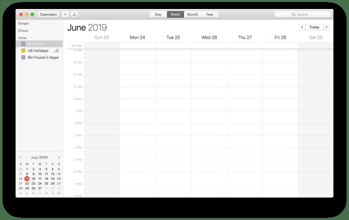 empty calendar app