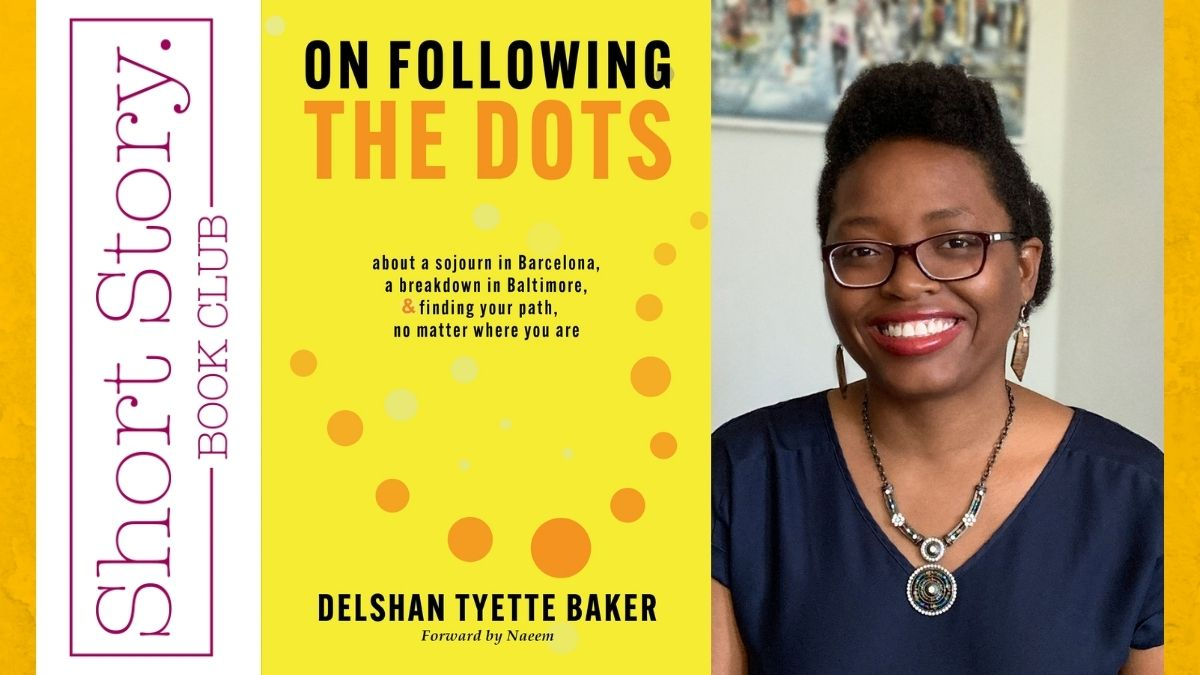 delshan baker with book cover of on following the dots