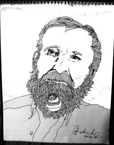 """Andrew Ettinger with a Double Barred Finch in his beard. (For my upcoming coloring book, """"Birds in Beards."""")"""