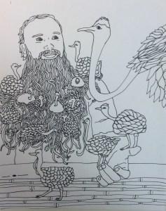 Ostriches in a beard