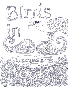 free coloring page birds in beards