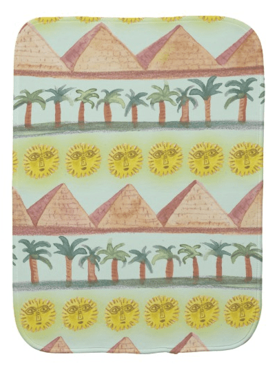 Egyptian pattern baby burp cloth by shoshannah scribbles