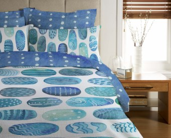 blue dots bedding