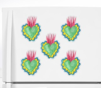 flaming hearts stickers RB