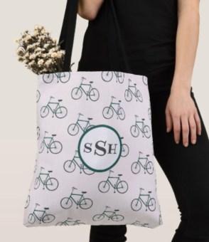 green bikes monogram tote Z