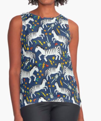 rockin zebras blue top RB