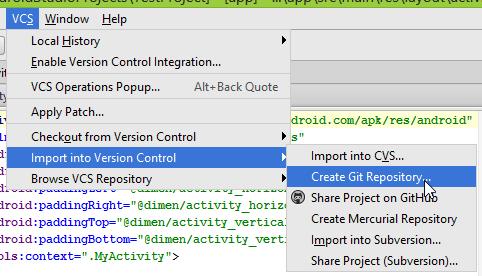 """অ্যান্ড্রয়েড স্টুডিওতে """"Create Git Repository"""" স্ক্রিন"""
