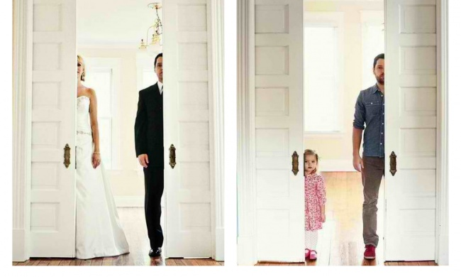 Tatal si fiica au recreat fotografiile de nunta dupa moartea mamei