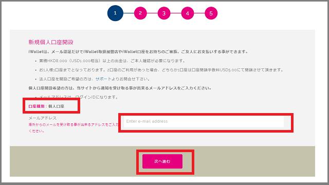 iWalletアカウント開設手順