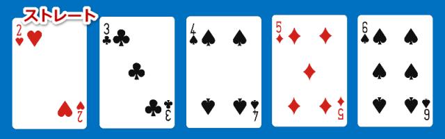 ポーカーの役の一つでストレートという
