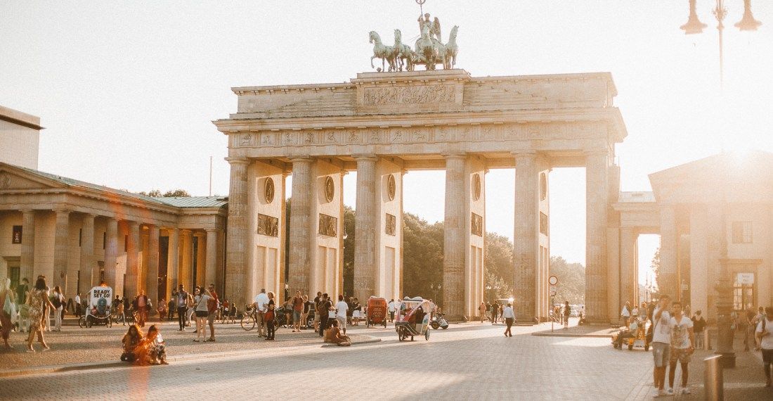 Berlin Pariser platz in the sunlight