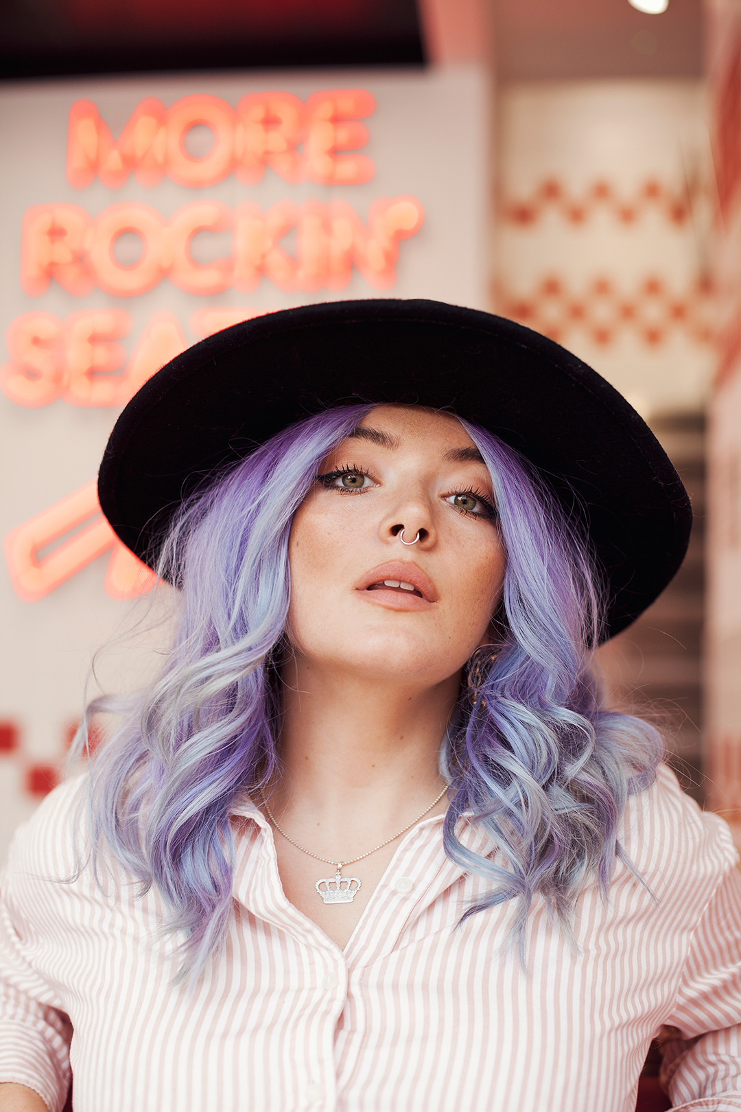 Blogger Georgie Philippa portrait in Five Guys by Ailera Stone