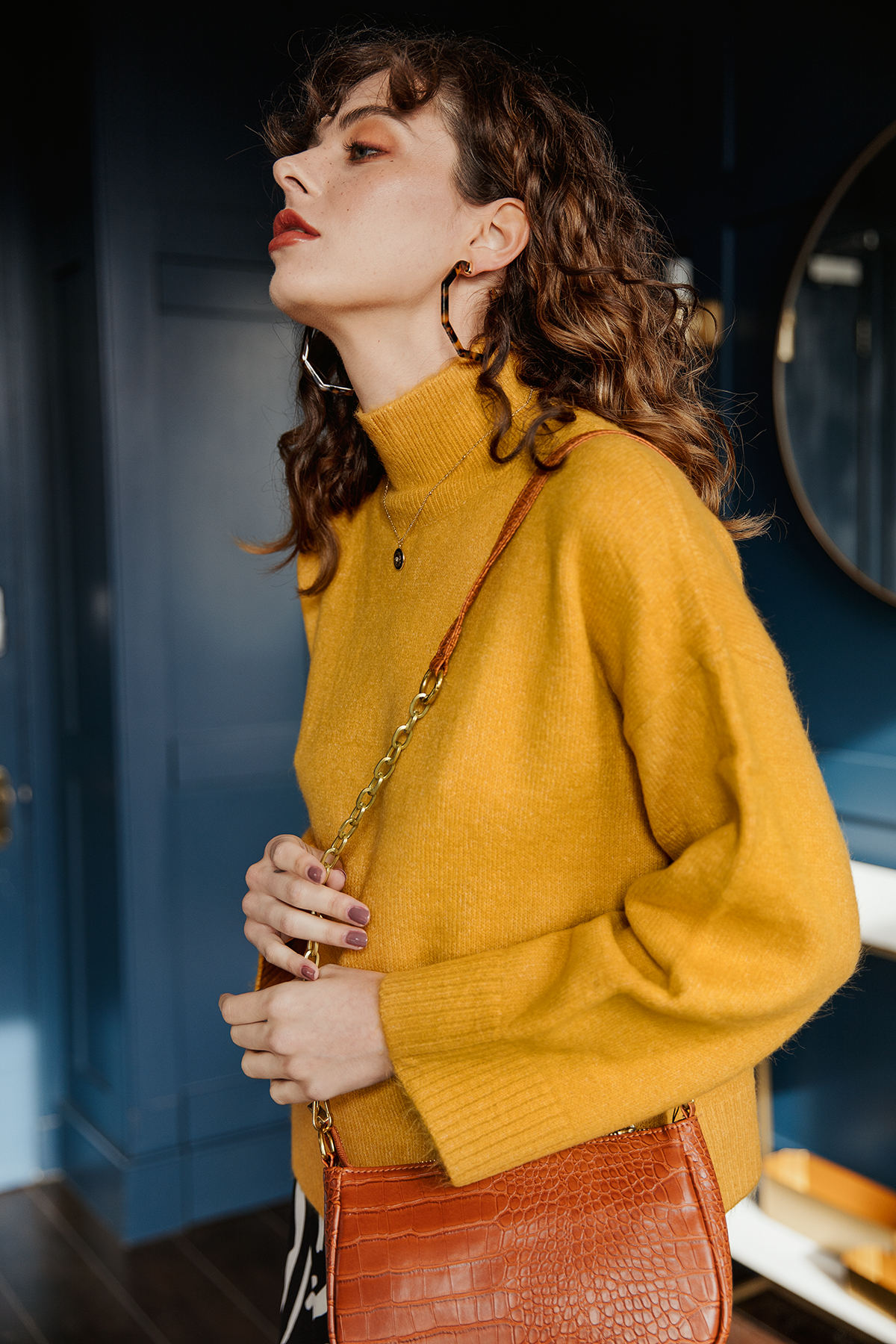 Sugar + Style fashion lookbook and e-com AW 2019. Model Alexandra in a yellow jumper. Shot by London based fashion photographer Ailera Stone