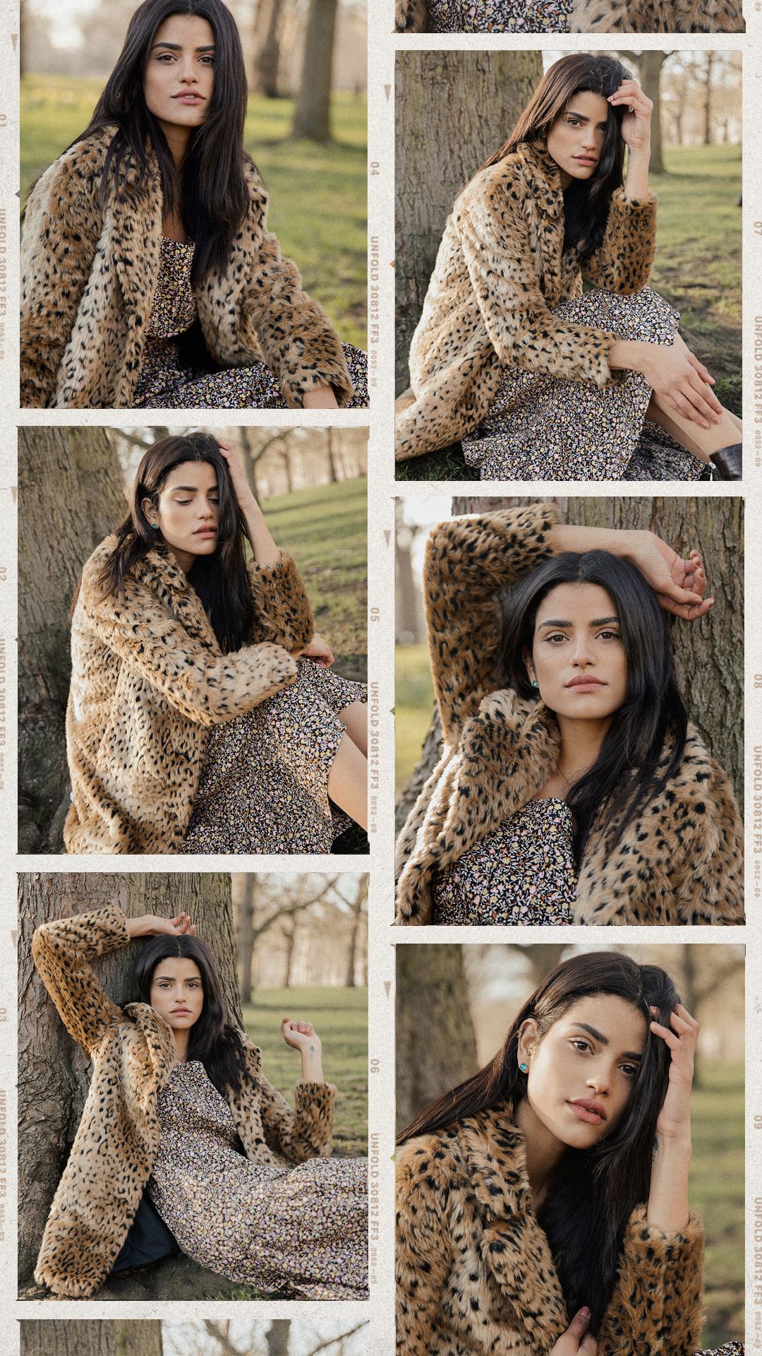 collage of a girl with black hair in leopard print coat sitting in a park taken by London based fashion and portraits photographer Ailera Stone