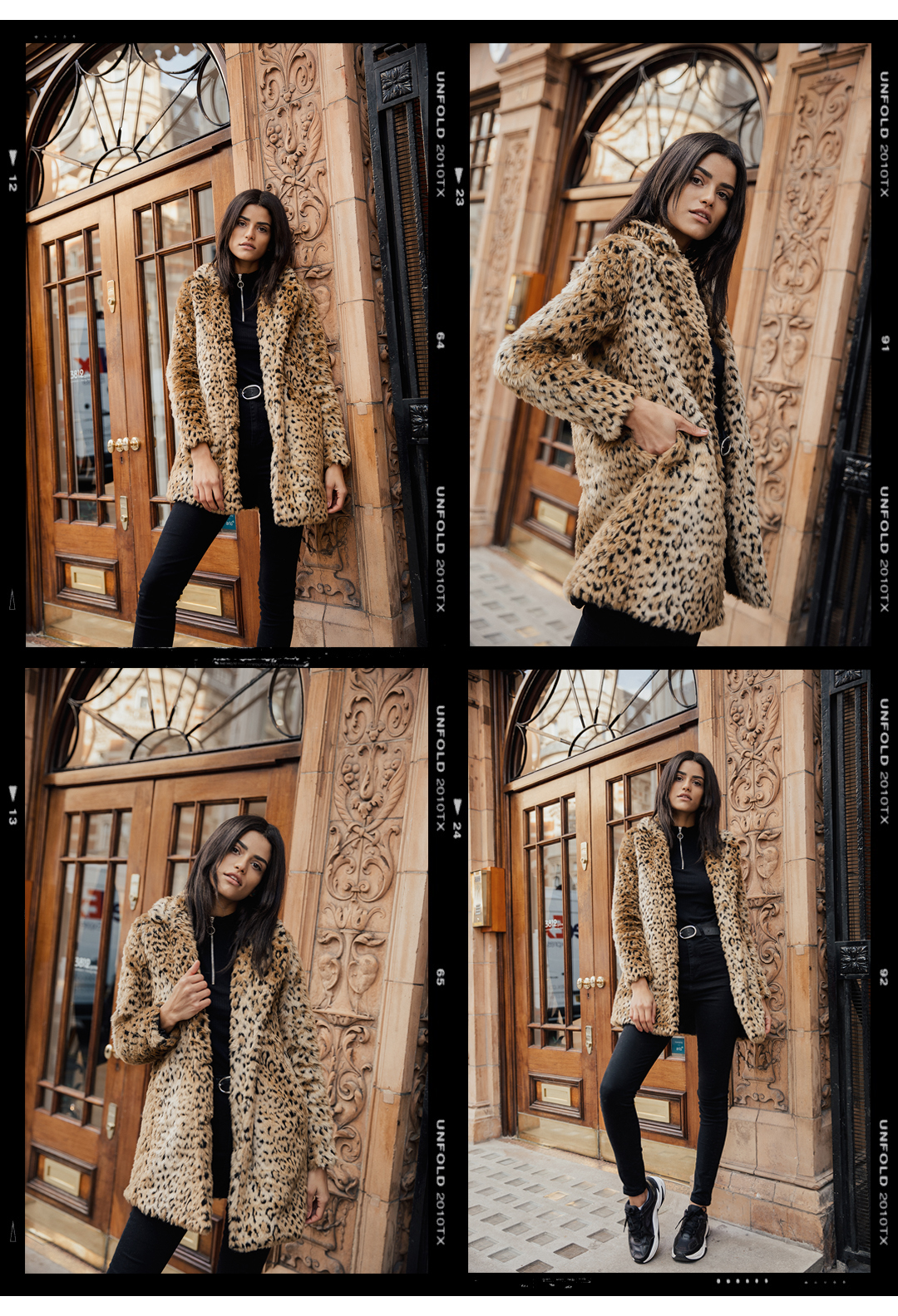 collage of a black haired braziian model from a blogger photoshoot