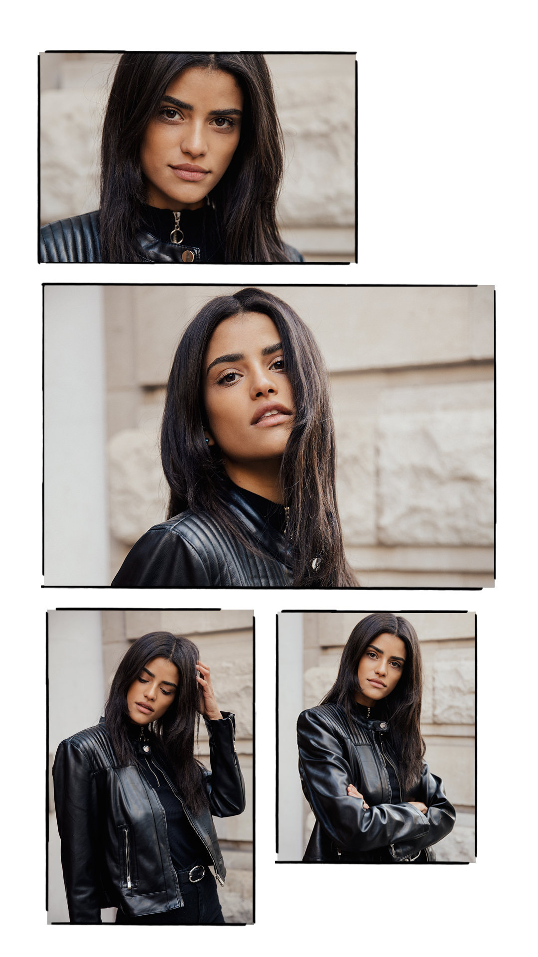 black haired model in London wearing a leather jacket